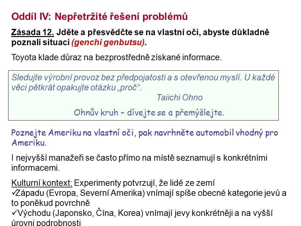 Oddíl IV: Nepřetržité řešení problémů Zásada 12. Jděte a přesvědčte se na vlastní oči, abyste důkladně poznali situaci (genchi genbutsu). Toyota klade