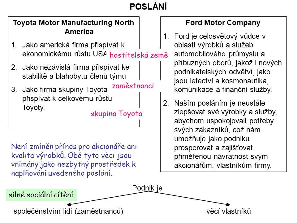 POSLÁNÍ Toyota Motor Manufacturing North America 1.Jako americká firma přispívat k ekonomickému růstu USA. 2.Jako nezávislá firma přispívat ke stabili