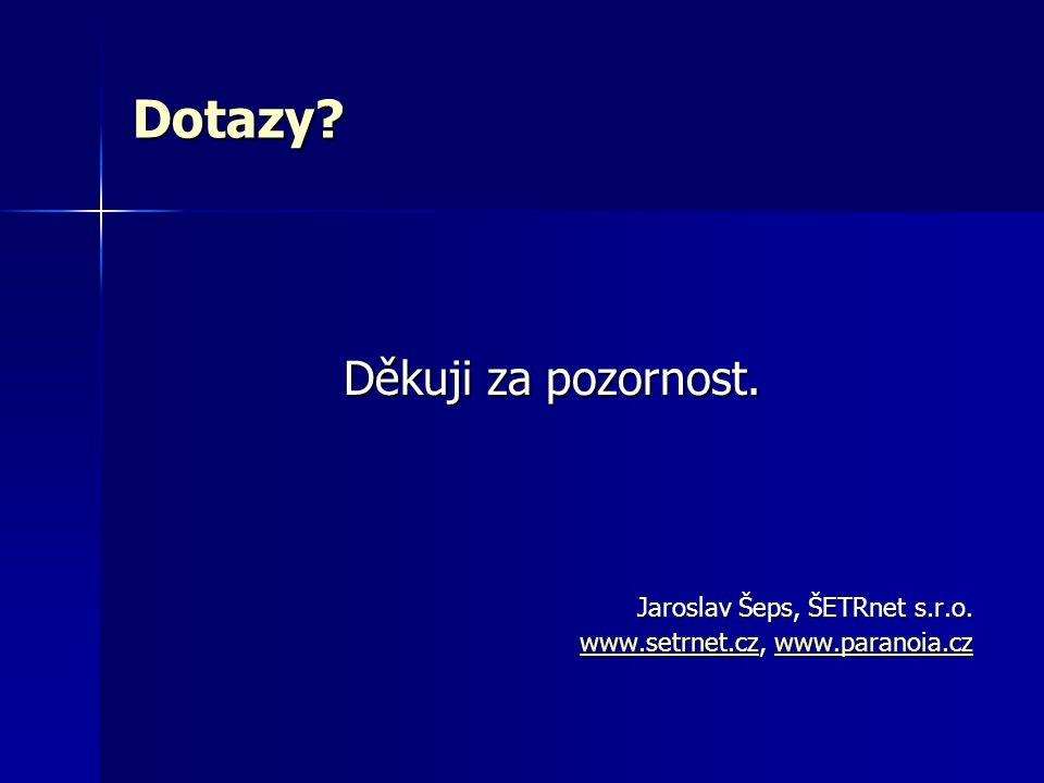 Dotazy. Děkuji za pozornost. Jaroslav Šeps, ŠETRnet s.r.o.