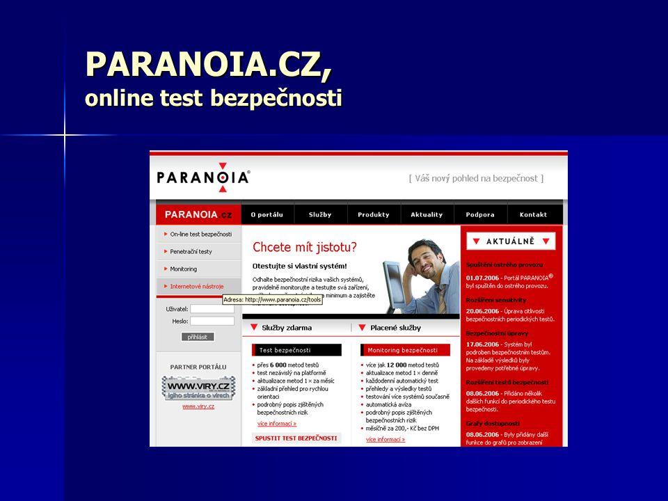 PARANOIA.CZ, online test bezpečnosti