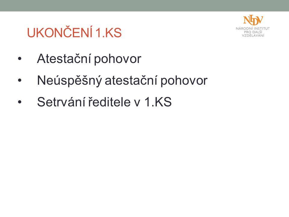 UKONČENÍ 1.KS Atestační pohovor Neúspěšný atestační pohovor Setrvání ředitele v 1.KS