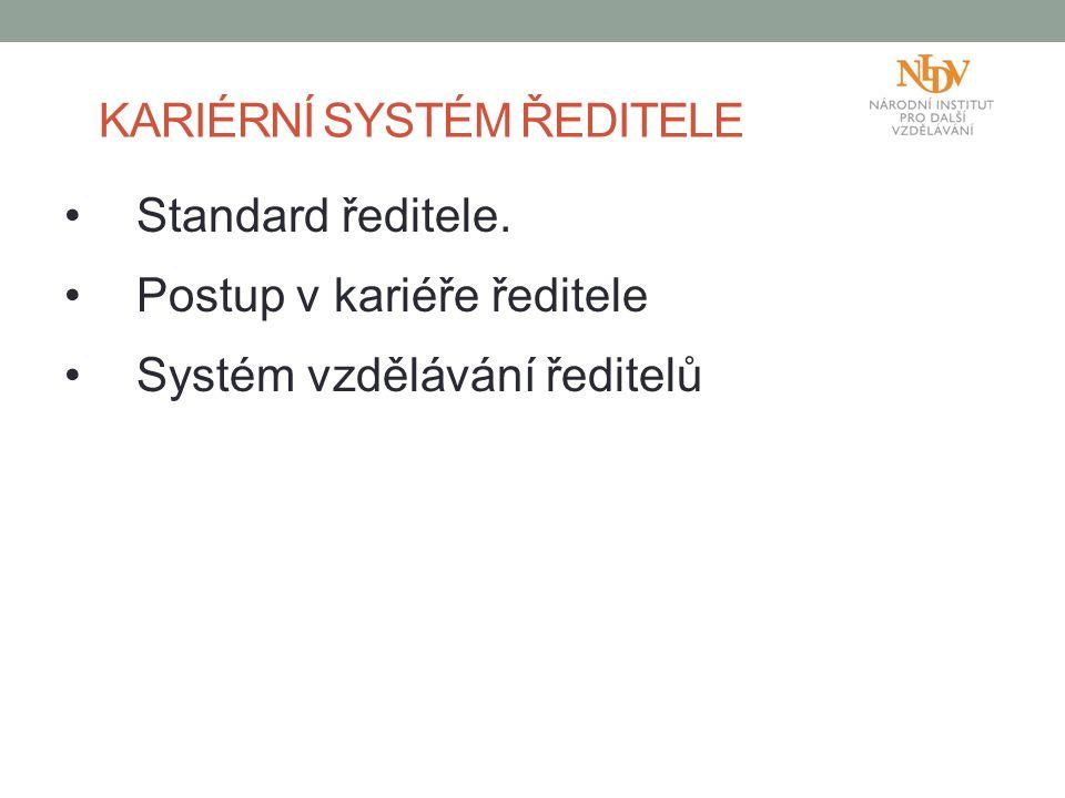 KARIÉRNÍ SYSTÉM ŘEDITELE Standard ředitele. Postup v kariéře ředitele Systém vzdělávání ředitelů