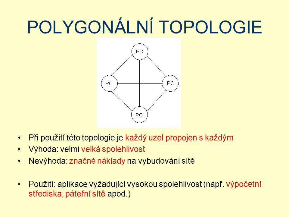POLYGONÁLNÍ TOPOLOGIE Při použití této topologie je každý uzel propojen s každým Výhoda: velmi velká spolehlivost Nevýhoda: značné náklady na vybudová
