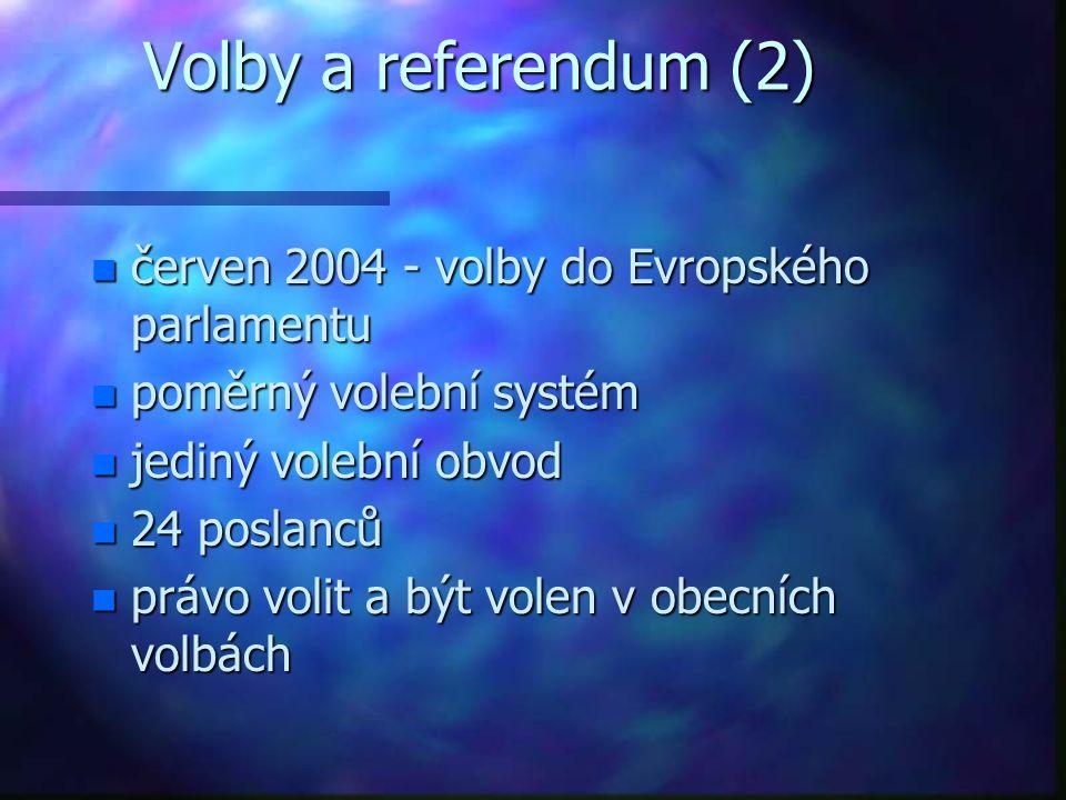 Volby a referendum (2) n červen 2004 - volby do Evropského parlamentu n poměrný volební systém n jediný volební obvod n 24 poslanců n právo volit a být volen v obecních volbách