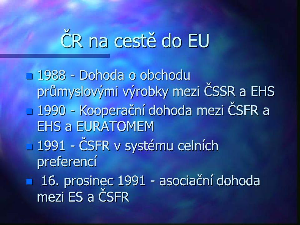 ČR na cestě do EU n 1988 - Dohoda o obchodu průmyslovými výrobky mezi ČSSR a EHS n 1990 - Kooperační dohoda mezi ČSFR a EHS a EURATOMEM n 1991 - ČSFR v systému celních preferencí n 16.
