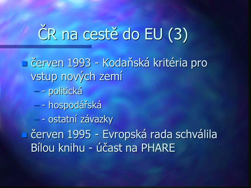 ČR na cestě do EU (3) n červen 1993 - Kodaňská kritéria pro vstup nových zemí –- politická –- hospodářská –- ostatní závazky n červen 1995 - Evropská rada schválila Bílou knihu - účast na PHARE