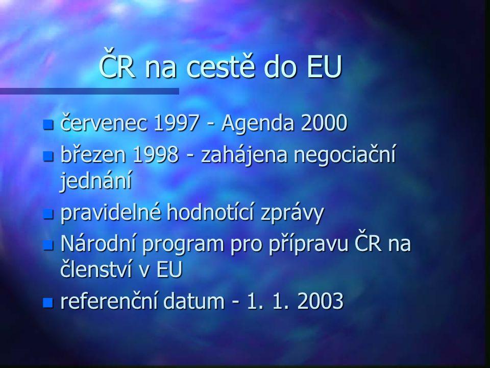 ČR na cestě do EU n červenec 1997 - Agenda 2000 n březen 1998 - zahájena negociační jednání n pravidelné hodnotící zprávy n Národní program pro přípravu ČR na členství v EU n referenční datum - 1.