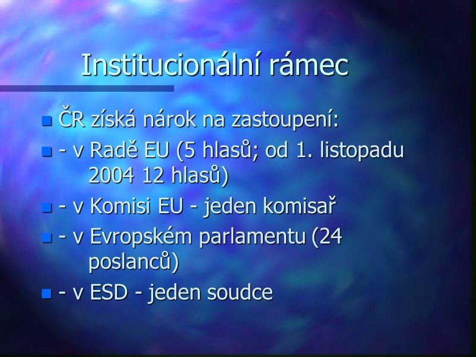 Institucionální rámec n ČR získá nárok na zastoupení: n - v Radě EU (5 hlasů; od 1.