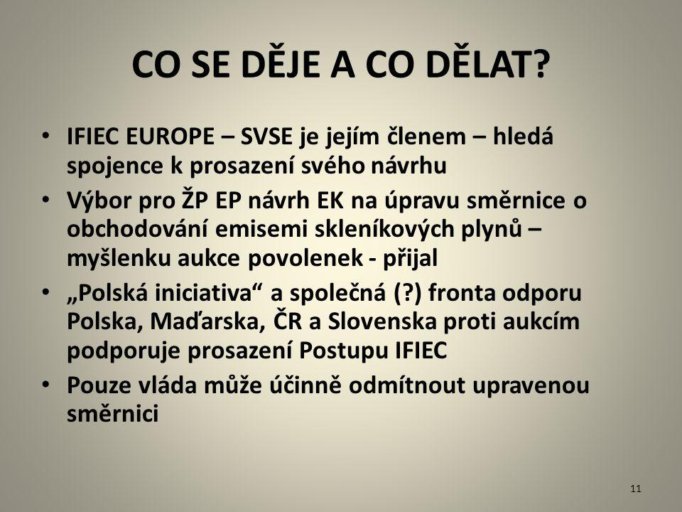 CO SE DĚJE A CO DĚLAT? IFIEC EUROPE – SVSE je jejím členem – hledá spojence k prosazení svého návrhu Výbor pro ŽP EP návrh EK na úpravu směrnice o obc