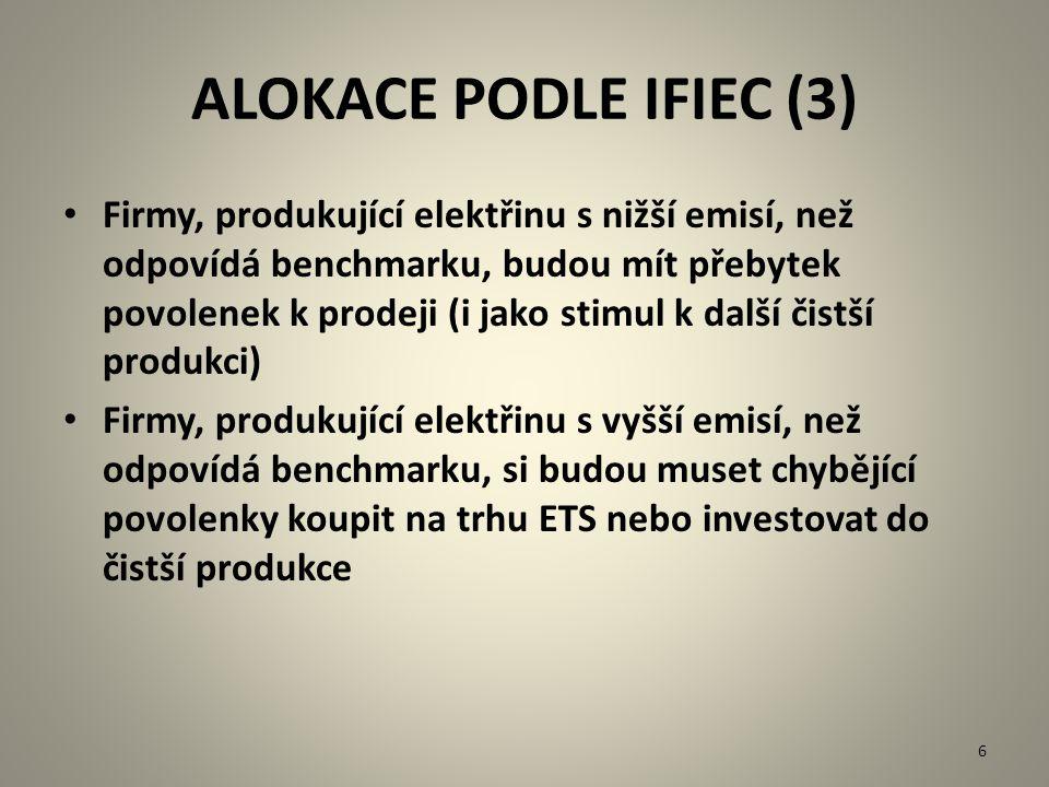 ALOKACE PODLE IFIEC (3) Firmy, produkující elektřinu s nižší emisí, než odpovídá benchmarku, budou mít přebytek povolenek k prodeji (i jako stimul k d