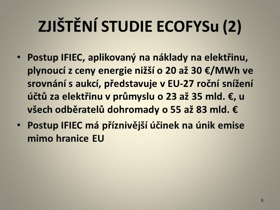 ZJIŠTĚNÍ STUDIE ECOFYSu (2) Postup IFIEC, aplikovaný na náklady na elektřinu, plynoucí z ceny energie nižší o 20 až 30 €/MWh ve srovnání s aukcí, před