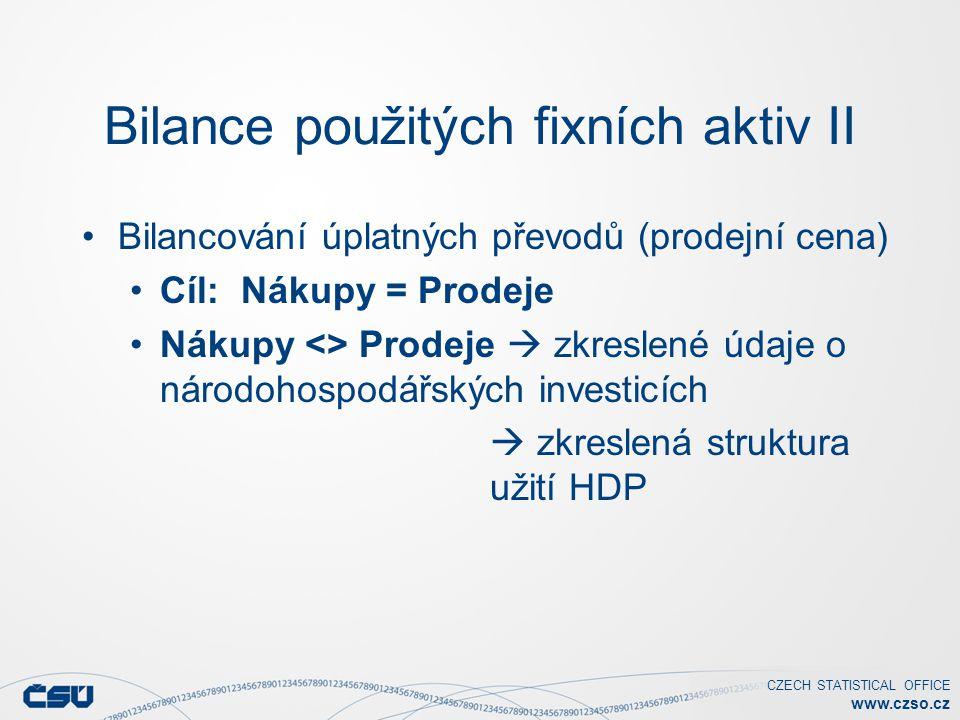 CZECH STATISTICAL OFFICE www.czso.cz Bilance použitých fixních aktiv II Bilancování úplatných převodů (prodejní cena) Cíl: Nákupy = Prodeje Nákupy <> Prodeje  zkreslené údaje o národohospodářských investicích  zkreslená struktura užití HDP