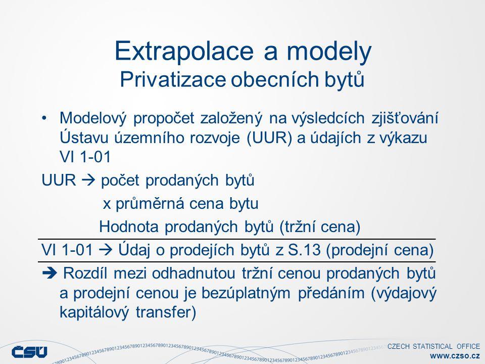 CZECH STATISTICAL OFFICE www.czso.cz Extrapolace a modely Privatizace obecních bytů Modelový propočet založený na výsledcích zjišťování Ústavu územního rozvoje (UUR) a údajích z výkazu VI 1-01 UUR  počet prodaných bytů x průměrná cena bytu Hodnota prodaných bytů (tržní cena) VI 1-01  Údaj o prodejích bytů z S.13 (prodejní cena)  Rozdíl mezi odhadnutou tržní cenou prodaných bytů a prodejní cenou je bezúplatným předáním (výdajový kapitálový transfer)