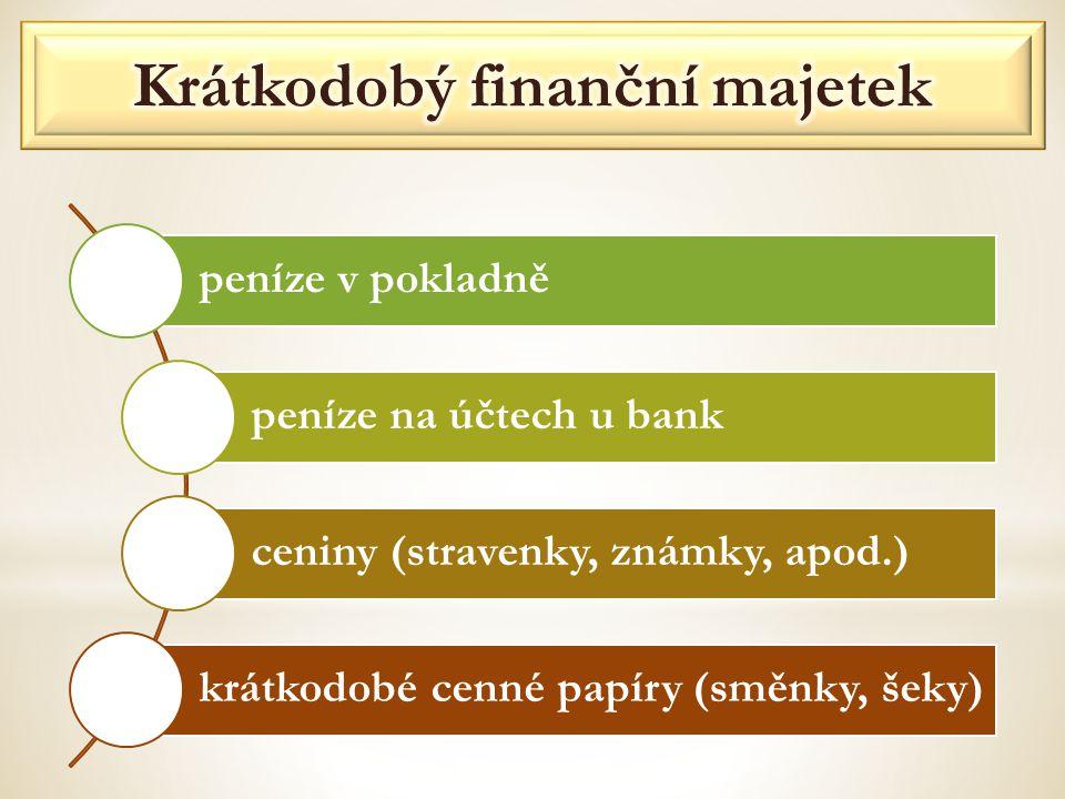 peníze v pokladně peníze na účtech u bank ceniny (stravenky, známky, apod.) krátkodobé cenné papíry (směnky, šeky)