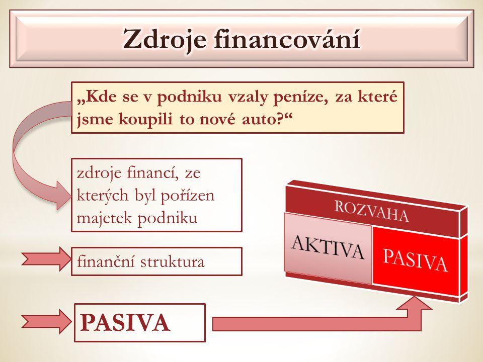 """zdroje financí, ze kterých byl pořízen majetek podniku finanční struktura PASIVA """"Kde se v podniku vzaly peníze, za které jsme koupili to nové auto?"""""""