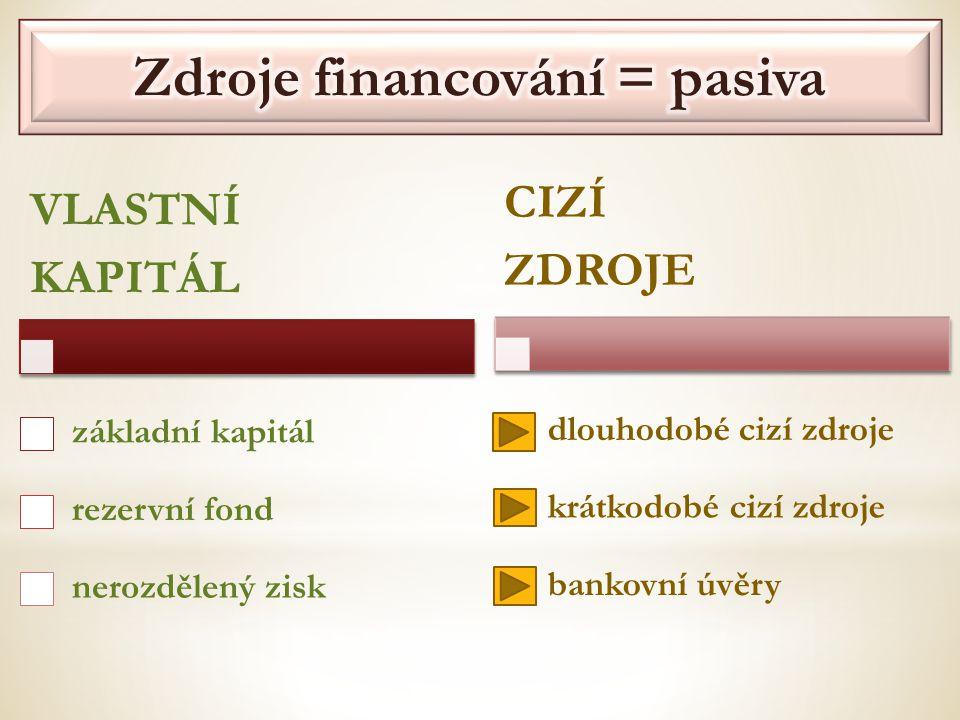 VLASTNÍ KAPITÁL základní kapitál rezervní fond nerozdělený zisk CIZÍ ZDROJE dlouhodobé cizí zdroje krátkodobé cizí zdroje bankovní úvěry