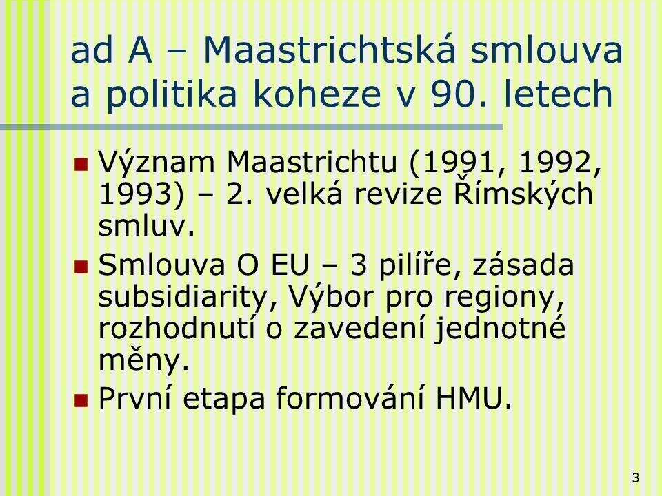 4 ad A – 1.pokračování Maastrichtská smlouva: obecným cílem integrace v 90.