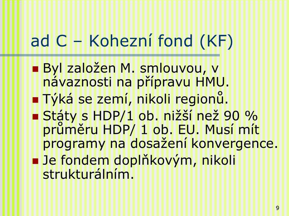 10 ad C – 1.pokračování Cíl KF: posílení hospodářské soudržnosti.