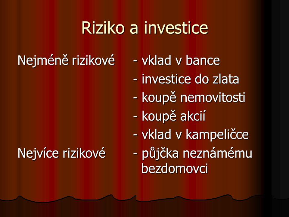 Riziko a investice Nejméně rizikové- vklad v bance - investice do zlata - koupě nemovitosti - koupě akcií - vklad v kampeličce Nejvíce rizikové - půjčka neznámému bezdomovci