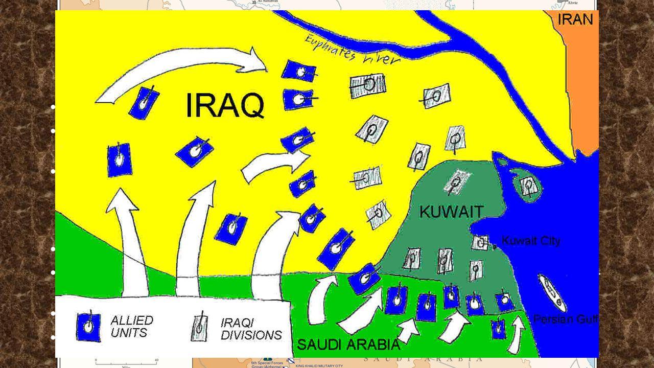 """Zapojení světa Válka krátká, """"čistější typ => mnoho pochyb o její pravdivosti USA – potvrdili svou (tehdejší) pozici světové velmoci č.1 a zajistili si potřebnou dodávku ropy, kteoru jejich ekonomika vyžadovala VB - zapojení za M."""