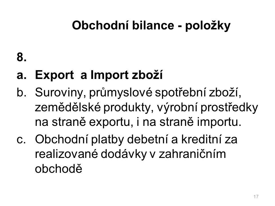 Obchodní bilance - položky 8.