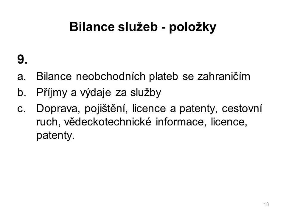 Bilance služeb - položky 9.