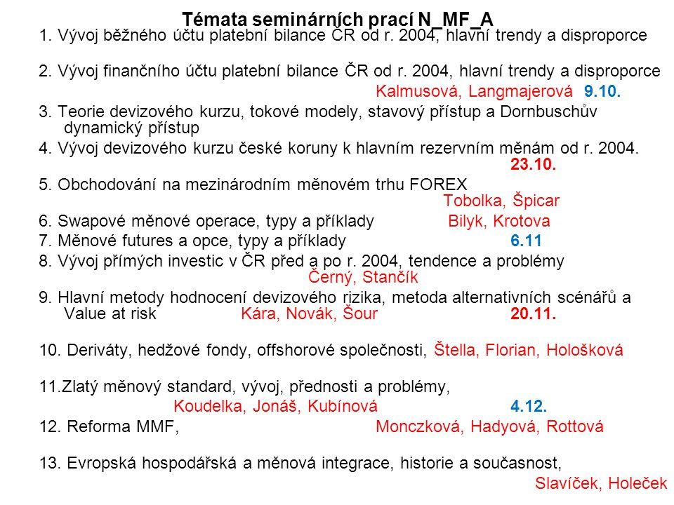 Témata seminárních prací N_MF_A 1. Vývoj běžného účtu platební bilance ČR od r.
