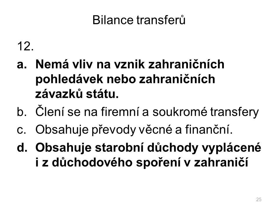 Bilance transferů 12. a.Nemá vliv na vznik zahraničních pohledávek nebo zahraničních závazků státu.