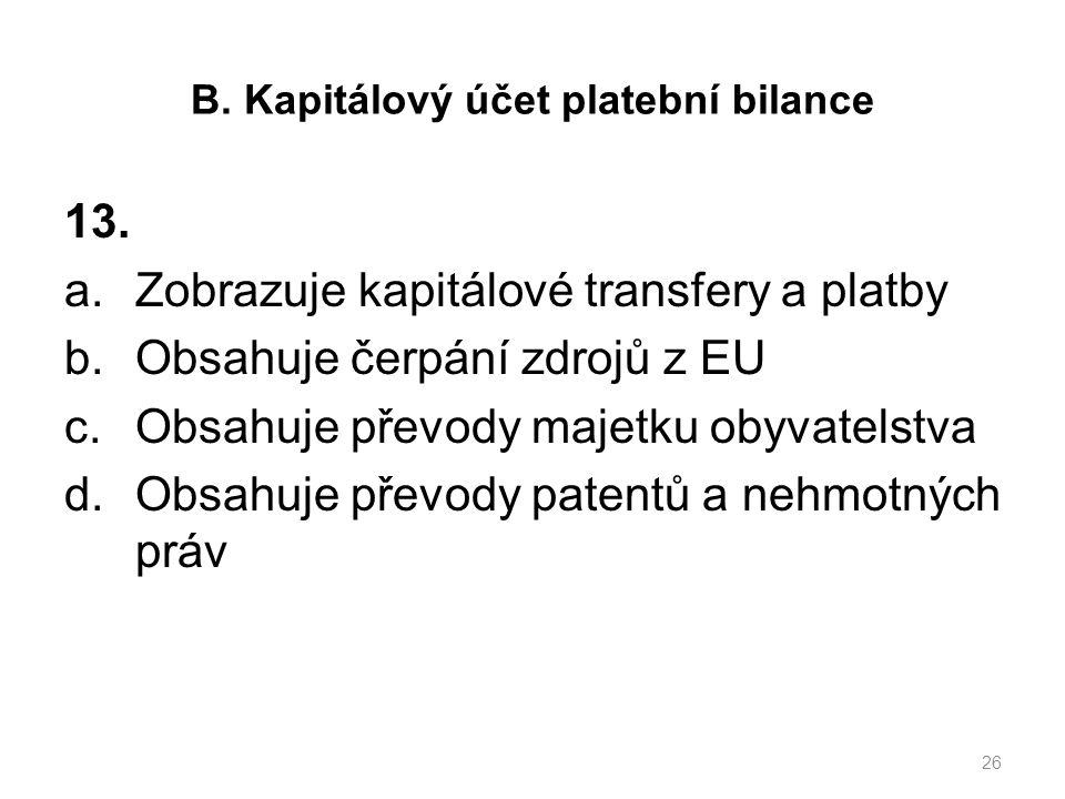 B. Kapitálový účet platební bilance 13.