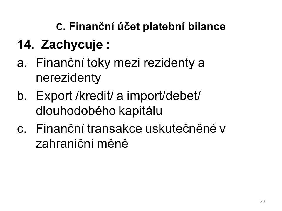 C. Finanční účet platební bilance 14.