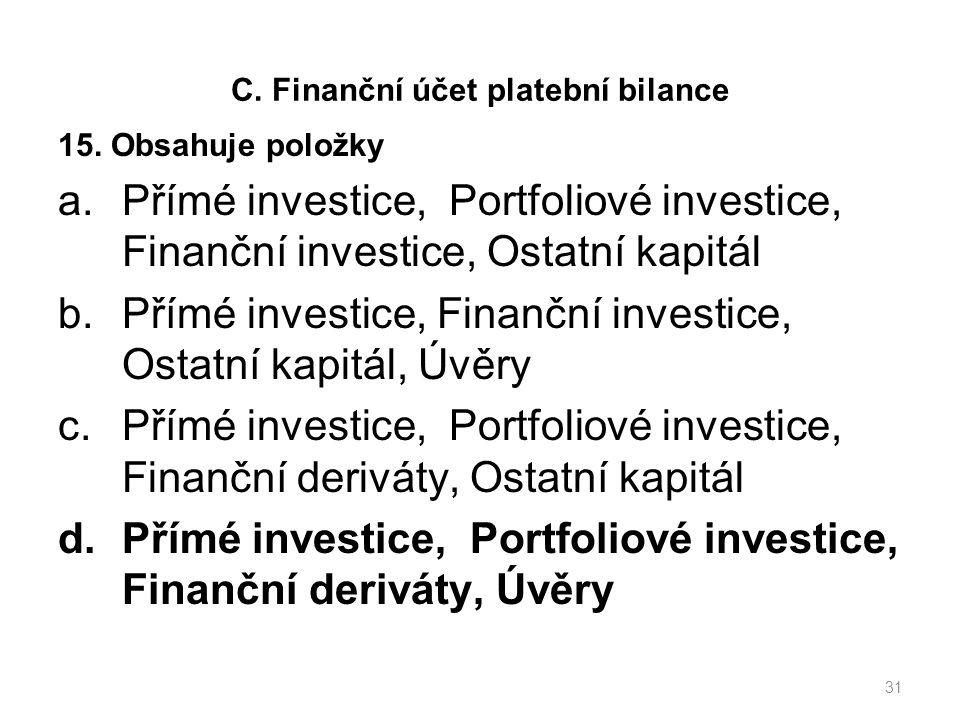 C. Finanční účet platební bilance 15.