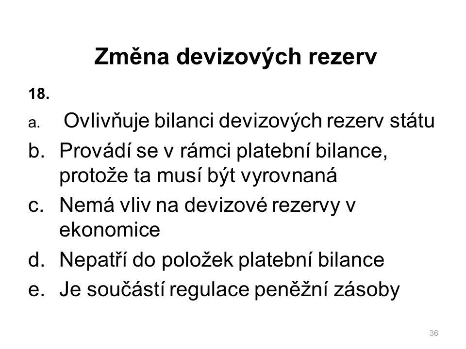 Změna devizových rezerv 18. a.