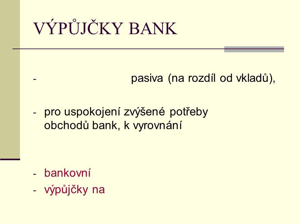 VÝPŮJČKY BANK - pasiva (na rozdíl od vkladů), - pro uspokojení zvýšené potřeby obchodů bank, k vyrovnání - bankovní - výpůjčky na