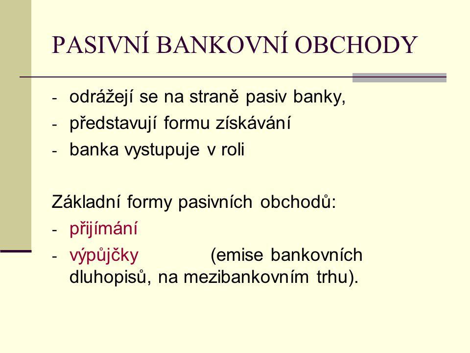 PASIVNÍ BANKOVNÍ OBCHODY - odrážejí se na straně pasiv banky, - představují formu získávání - banka vystupuje v roli Základní formy pasivních obchodů: