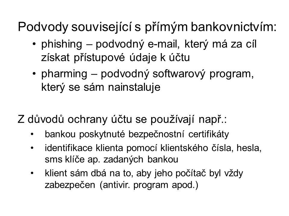 Podvody související s přímým bankovnictvím: phishing – podvodný e-mail, který má za cíl získat přístupové údaje k účtu pharming – podvodný softwarový