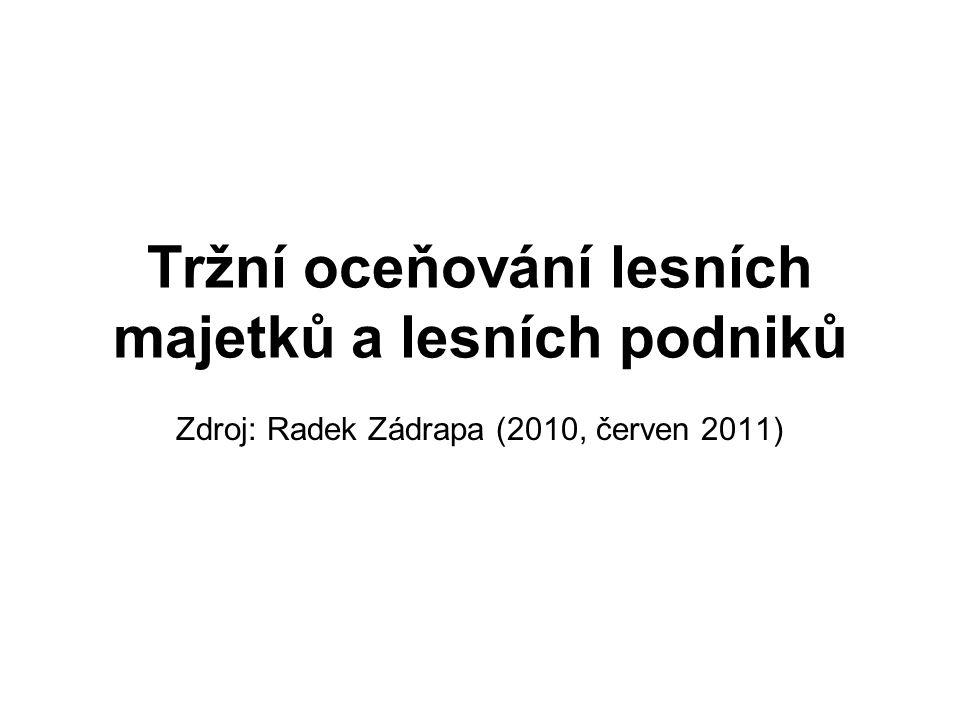 Tržní oceňování lesních majetků a lesních podniků Zdroj: Radek Zádrapa (2010, červen 2011)