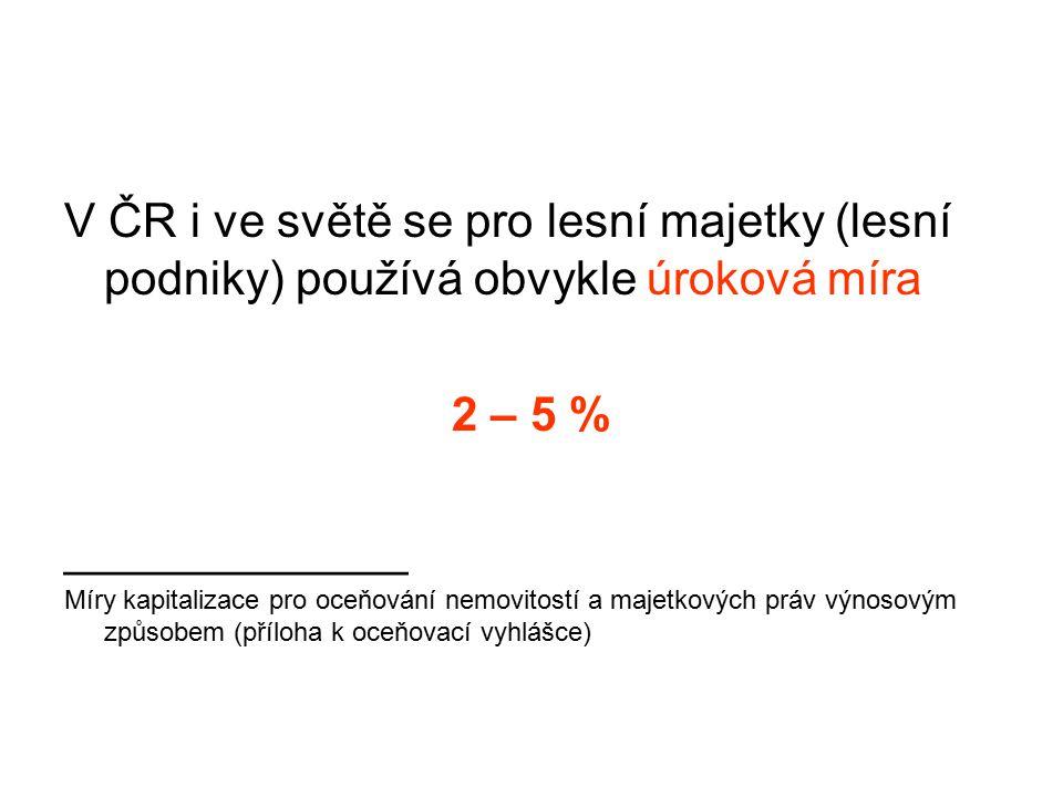 V ČR i ve světě se pro lesní majetky (lesní podniky) používá obvykle úroková míra 2 – 5 % _____________ Míry kapitalizace pro oceňování nemovitostí a