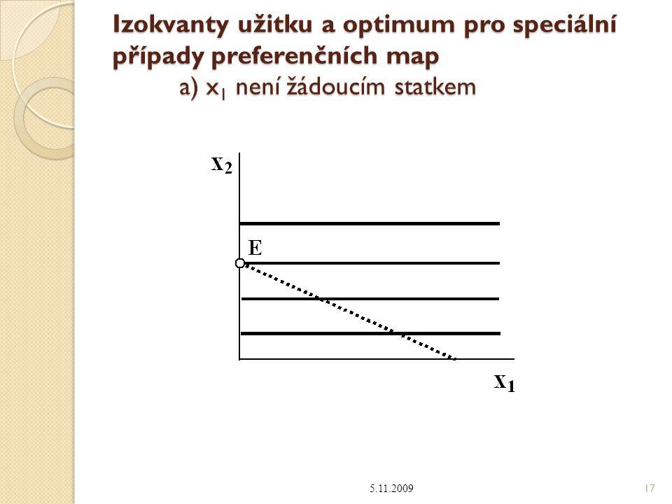 Izokvanty užitku a optimum pro speciální případy preferenčních map a) x 1 není žádoucím statkem 5.11.2009 17