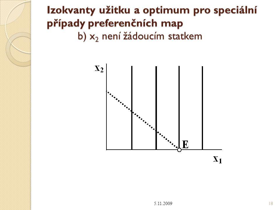 Izokvanty užitku a optimum pro speciální případy preferenčních map b) x 2 není žádoucím statkem 5.11.2009 18