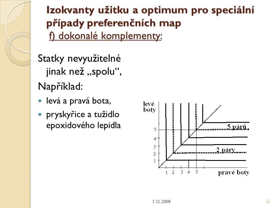 """Izokvanty užitku a optimum pro speciální případy preferenčních map f) dokonalé komplementy: Statky nevyužitelné jinak než """"spolu , Například: levá a pravá bota, pryskyřice a tužidlo epoxidového lepidla 5.11.2009 22"""