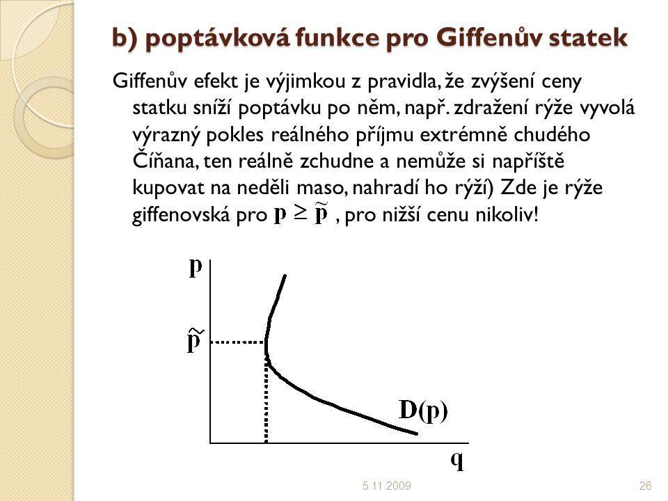 b) poptávková funkce pro Giffenův statek 5.11.200926 Giffenův efekt je výjimkou z pravidla, že zvýšení ceny statku sníží poptávku po něm, např.