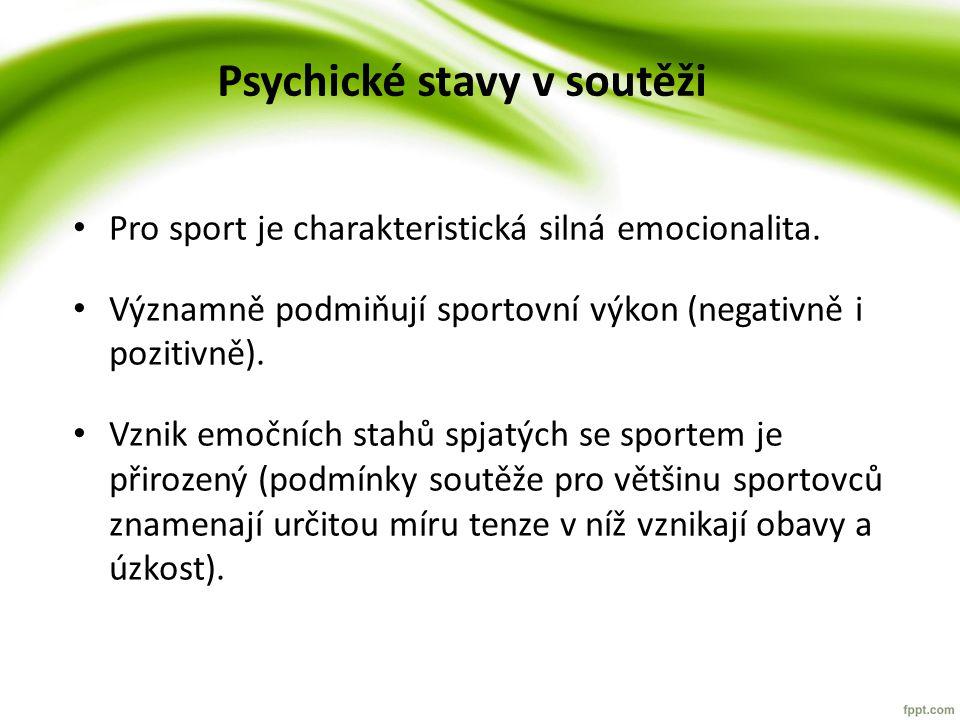 Psychické stavy v soutěži Pro sport je charakteristická silná emocionalita.