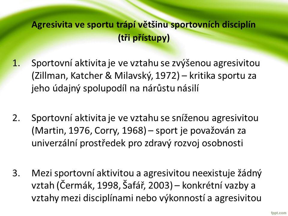 Agresivita ve sportu trápí většinu sportovních disciplín (tři přístupy) 1.Sportovní aktivita je ve vztahu se zvýšenou agresivitou (Zillman, Katcher &