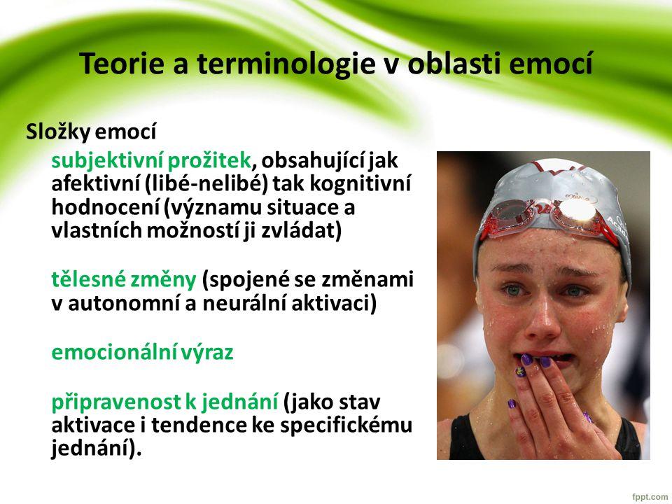 Teorie a terminologie v oblasti emocí Složky emocí subjektivní prožitek, obsahující jak afektivní (libé-nelibé) tak kognitivní hodnocení (významu situace a vlastních možností ji zvládat) tělesné změny (spojené se změnami v autonomní a neurální aktivaci) emocionální výraz připravenost k jednání (jako stav aktivace i tendence ke specifickému jednání).