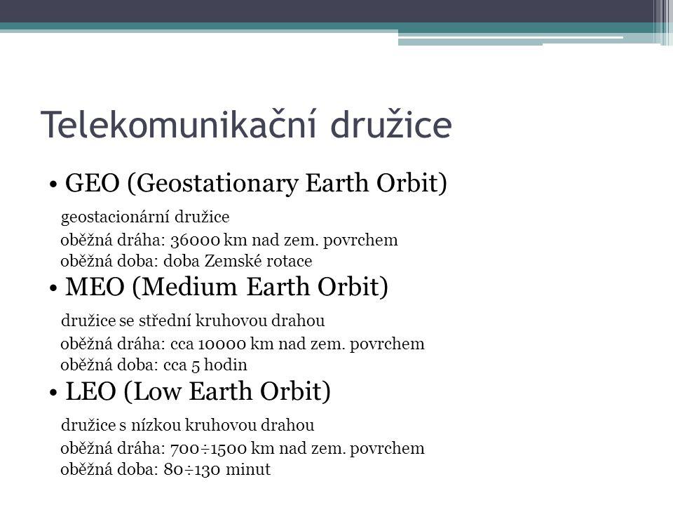 Telekomunikační družice GEO (Geostationary Earth Orbit) geostacionární družice oběžná dráha: 36000 km nad zem.