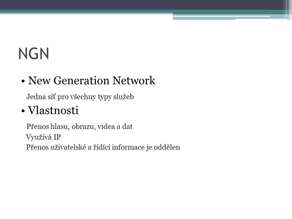 NGN New Generation Network Jedna síť pro všechny typy služeb Vlastnosti Přenos hlasu, obrazu, videa a dat Využívá IP Přenos uživatelské a řídící informace je oddělen