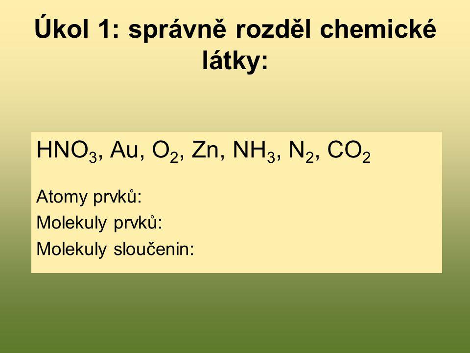 Úkol 1: správně rozděl chemické látky: HNO 3, Au, O 2, Zn, NH 3, N 2, CO 2 Atomy prvků: Molekuly prvků: Molekuly sloučenin: