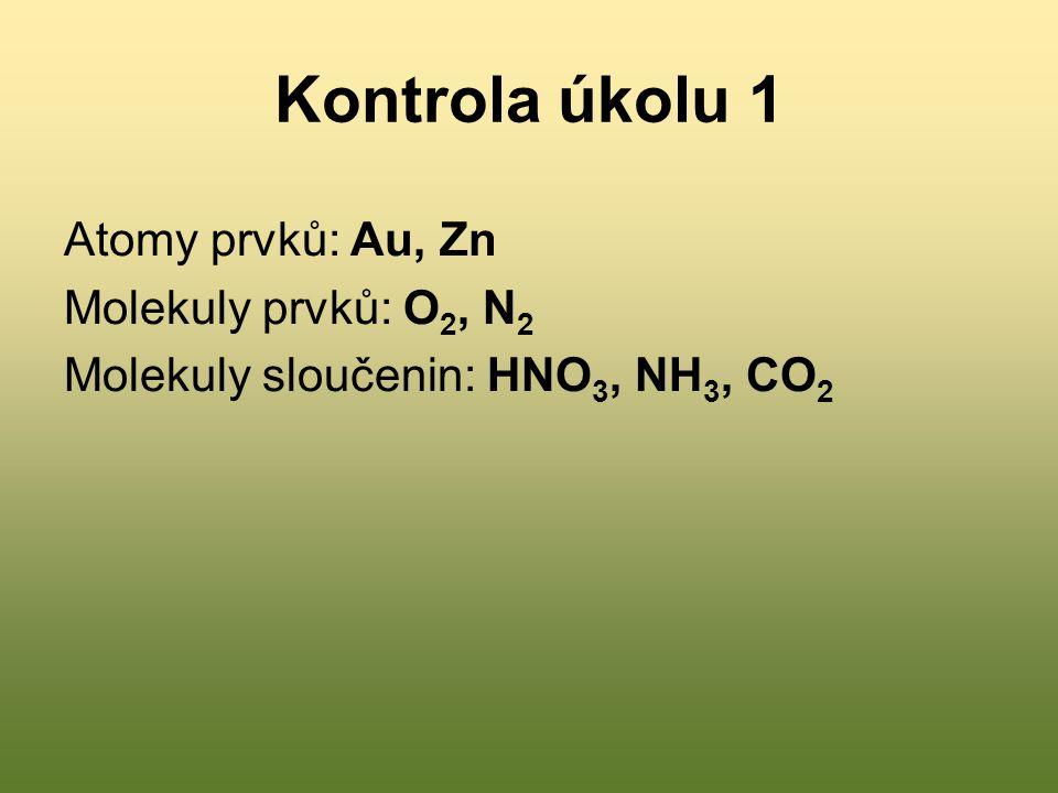Úkol 2: vyjádři pomocí značek, nebo slovně následující zápisy a/ Deset atomů zinku b/ Pět dvouatomových molekul chlóru c/ Čtyři atomy vodíku d/ Osm tříatomových molekul kyslíku e/ 7 Ca f/ 6 N 2 g/ 4 P 4 h/ 9 Hg