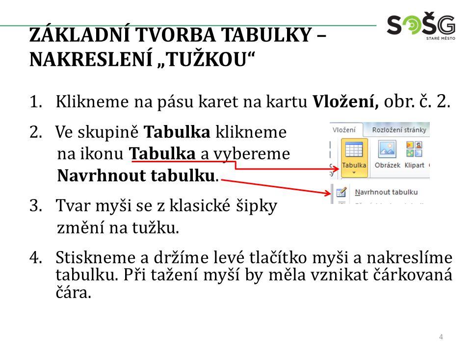 """ZÁKLADNÍ TVORBA TABULKY – NAKRESLENÍ """"TUŽKOU 1.Klikneme na pásu karet na kartu Vložení, obr."""