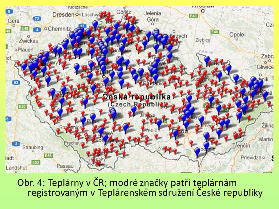 Obr. 4: Teplárny v ČR; modré značky patří teplárnám registrovaným v Teplárenském sdružení České republiky
